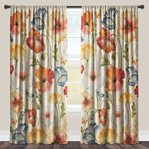 Laural Home Multi Watercolor Poppies Sheer Window Curtain 84x50