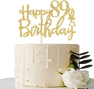 Gold Glitter Happy 89th Birthday Cake Topper - 89 Cake Topper - 89th Birthday Party Supplies - 89th Birthday Party Decorat...