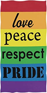 Wamika Rainbow Pride Hand Towels Gay Lesbian LGBT Support Bathroom Towel Ultra Soft Highly Absorbent Love Peace Respect Pride Bathroom Decor 16x30 in
