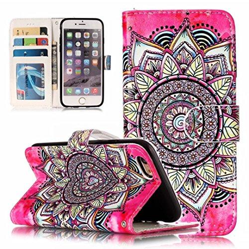 iPhone 5/5S/5SE hoesje PU Lederen Flip portemonnee case credit card slot functies magnetische off stent functie 3D patroon patroon ontwerp beschermende DECHYI case, Portemonneehouder, FD12, iPhone 6/6s (4.7
