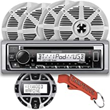 $399 » Kenwood KMR-D378BT Marine CD Receiver Party Captain's Bundle with Wired Remote and Four Premium BOSS Surround Sound Speake...