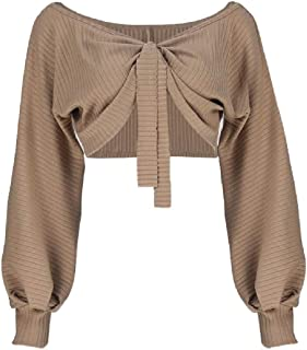 OTW Women Long-Sleeve Sexy Crop Tops V Neck Solid Color Baggy Tee Shirt Blouse Top
