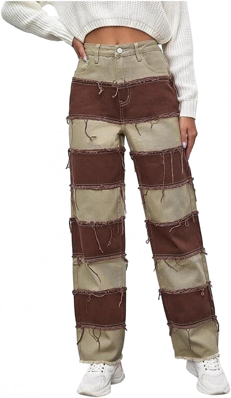 Dunacifa High Waisted Jeans for Women Y2K Straight Leg Distressed Frayed Splicing Streetwears Boyfriends Jeans Pocket