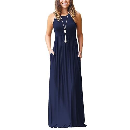 444f6e273483 Dasbayla Women's Casual Long/Short Sleeve Maxi Dress with Pockets