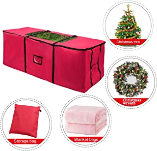 JJCKHE Christmas Tree Storage Bag, 600D Heavy Duty Waterproof Storage Container with Dual Zipper & Durable Handles, Fits up to Holiday Xmas Disassembled Trees with Clear-View Window,Red
