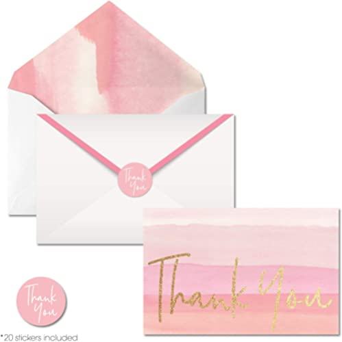 4x6 Blank Gold Foil Pink Thank you Cards with Envelopes and Stickers, Boxed Set of 40 Watercolor Postcards for Weddin...