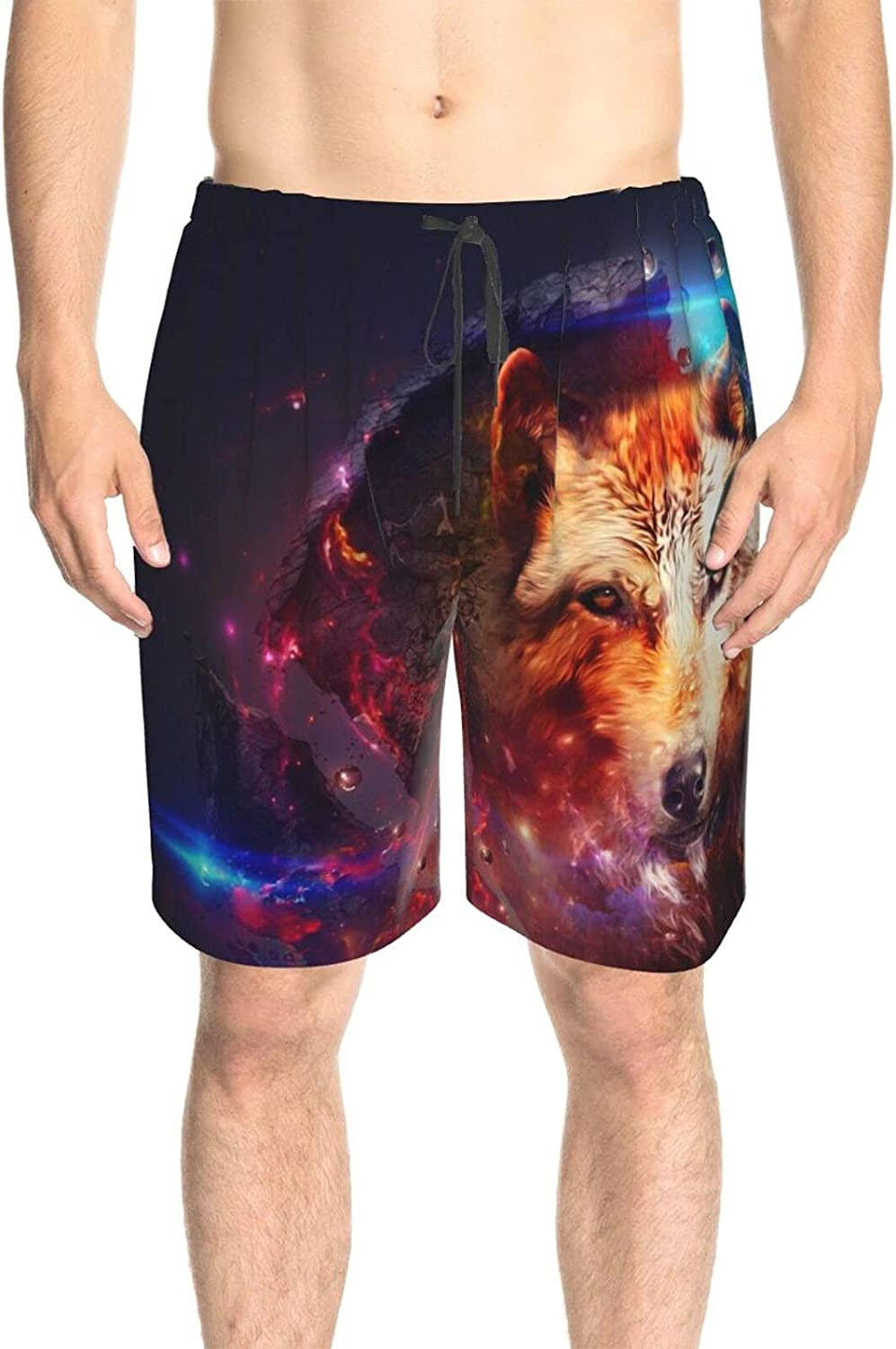 Men's Swim Shorts Space Colorful Wolf Bathing Suit Boardshorts Quick Dry Cool Summer Boardshorts with Mesh Lining