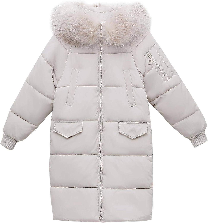 Women's Mid-Length Winter Puffer Jacket Faux Fur Trim Hood Lightweight Quilted Jacket