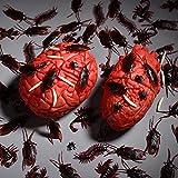 156 Stücke Plastik Realistische Wanzen, gefälschte Kakerlaken, Spinnen, Würmer und Fliegen für Halloween Party und Dekoration - 2