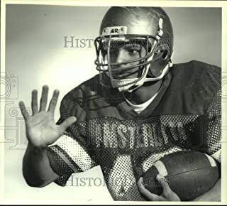 1991 Press Photo Amsterdam, New York High School football player Justice Smith