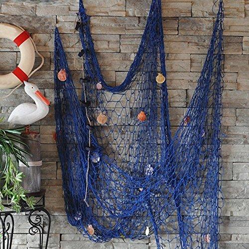 iHomie Dngdom - Rete da Pesca Decorativa in Stile mediterraneo, con Conchiglie, per Tessitura Manuale e Decorazione da Appendere Blu