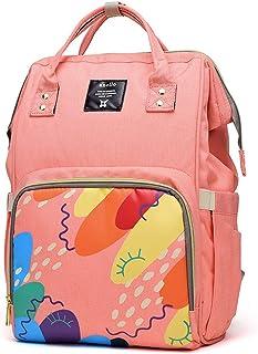 実用的なおむつ交換バックパックバッグ、ママとパパ、大容量のための多機能防水ベビー交換バッグ 人生の理想の仲間 (色 : ピンク)