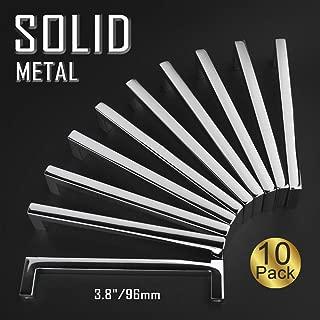 Koofizo Solid Square Bar Cabinet Handle - Chrome Furniture Pull, 3.8 Inch/96mm Screwhole Distance, 10-Pack for Kitchen Cupboard Door, Bedroom Dresser Drawer, Bathroom Wardrobe Hardware