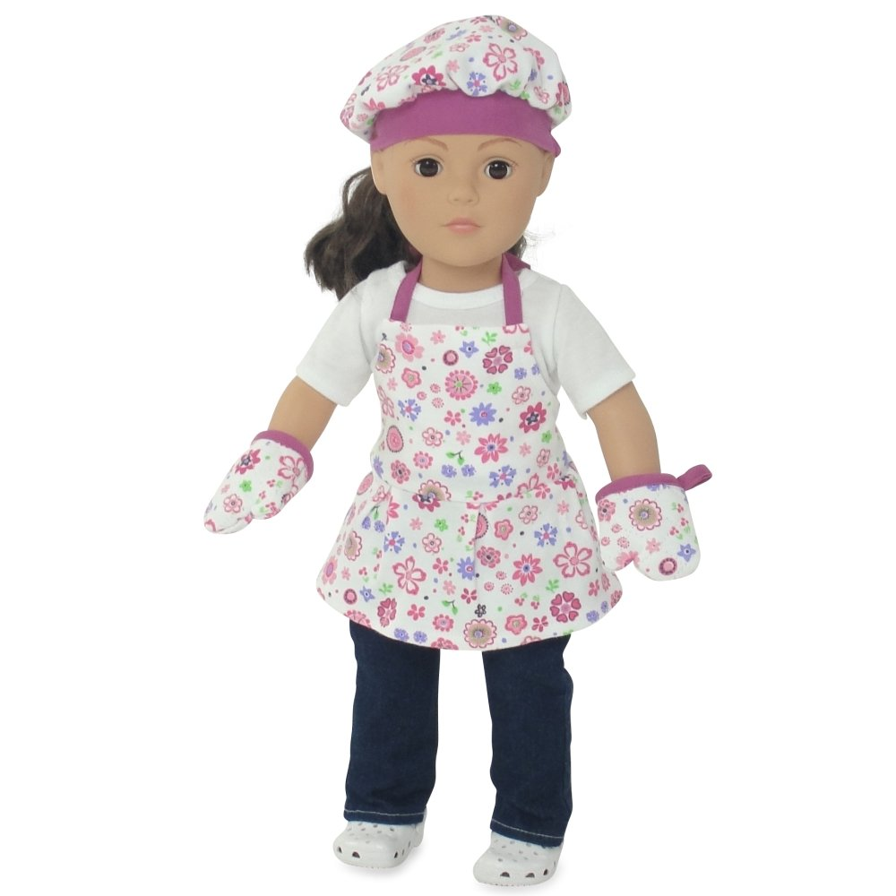 Pink Pot Holder Oven Mitt Cooking Bake 18 in Doll Clothes Fits American Girl