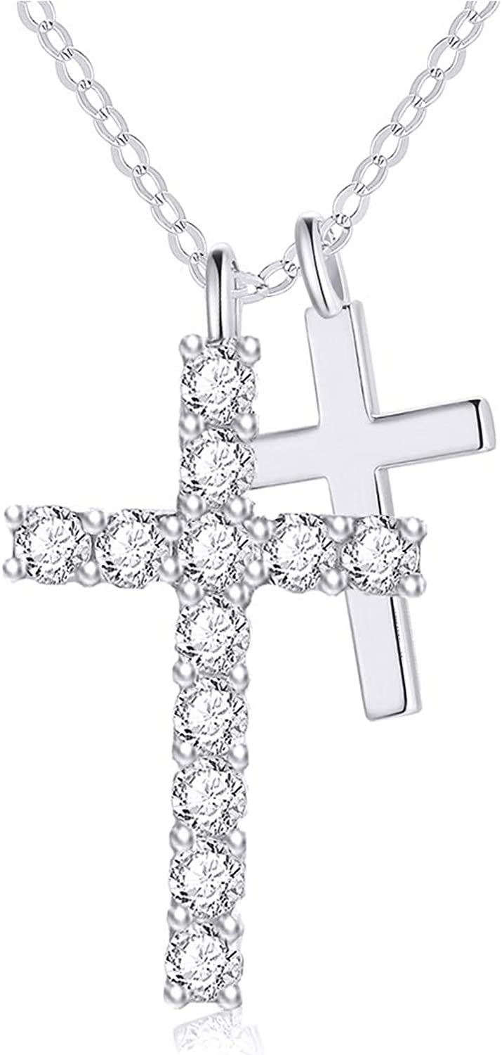 14k Gold Cubic Zirconia Cross Limited time sale Necklace Chai Topics on TV Women for Real