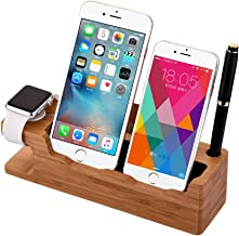 MOOZO Bamboo Wood Desktop Charging Dock Station Charger Holder Cradle Stand Compatible iPhone Xs MAX XR X 8 7 6 6S Plus Apple Watch 2 3 4 / iWatch Samsung Galaxy S8 S7 S6 Edge Plus LG HTC Smartphones