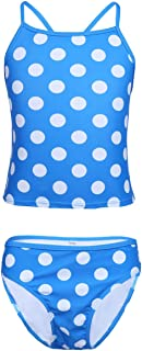 LiiYii Kids Girls Polka Dots Tankini 2 Pieces Bathing Suit Vacation Beachwear Tops with Bottoms Swimsuit Blue 8 Years