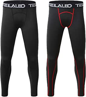 TELALEO Boys' Youth Compression Base Layer Pants Tight Running Leggings Trousers