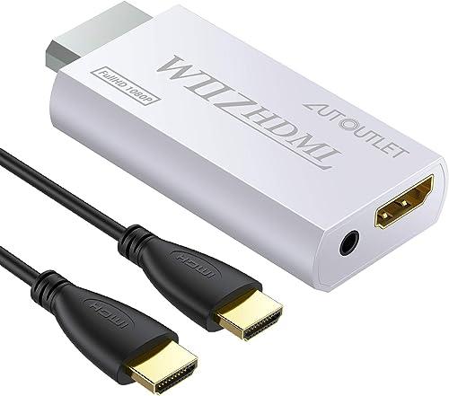 AUTOUTLET Wii vers Hdmi, Adaptateur de conversion Wii vers HDMI, avec câble HDMI de 1 M La sortie audio-vidéo 3,5 mm ...