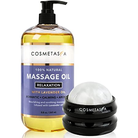 Lavender Relaxation Massage Oil with Massage Roller Ball- Perfect Mother's Day Gift Set 100% Natural Blend of Spa Quality Oils for Romantic, Calming, Aromatic, Soothing Massage Therapy