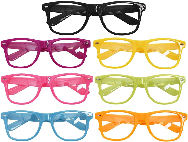 GEEK GLASSES FANCY DRESS ACCESSORY YELLOW FRAME GLASSES CLEAR LENS UNISEX SCHOOL NERD CLUB WEAR RETRO STYLE BULK WHOLESALE (PACK SIZE 48)