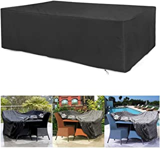 Hazgoldaz Extra Large Garden Furniture Cover Outdoor Table Protector Waterproof Dustproof Windproof Snowproof Anti-UV Protection for Patio Sets Black Large Rectangular 106