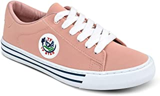 Women Girl Casual Fashion Flat PU Sneakers Low Top Lace up Canvas Walking Shoes