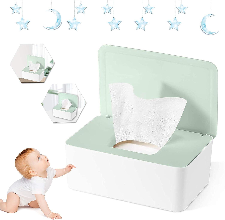 Caja para Toallitas Húmedas Caja Dispensadora de Toallitas Prueba de polvo Caja de pañuelos Caja de Almacenamiento de Pañuelos con Tapa para Oficina en casa (Verde)