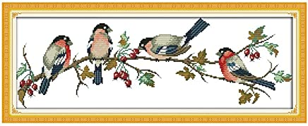 Anself Bullfinches Pattern DIY Embroidery Kit Cross Stitch for Home Decor 68 26cm