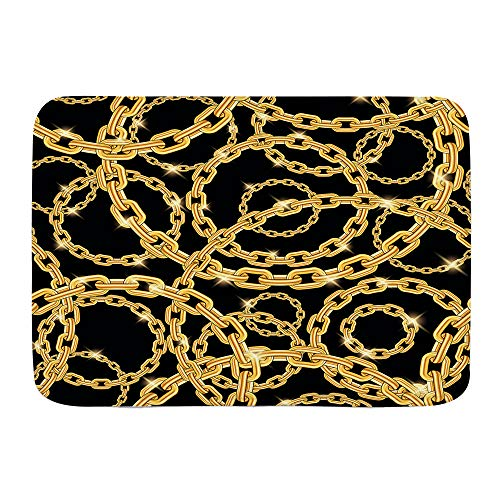 VAMIX Badematten Nahtloses Wiederholungsmuster Goldketten schwarzer Hintergrund,45x75cm Badematte rutschfest Waschbar Badezimmer Teppich Weiche Hochflor Badvorleger aus