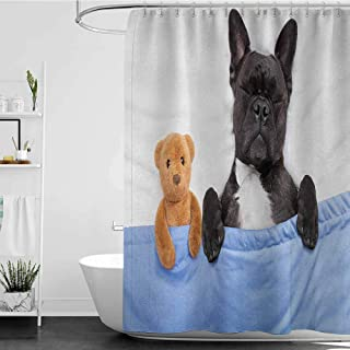 SKDSArts Shower Curtains with Trees on Them Animal,French Bulldog Sleeping with Teddy Bear in Cozy Bed Best Friends Fun Dreams Image,Multicolor,W69 x L90,Shower Curtain for Girls Bathroom