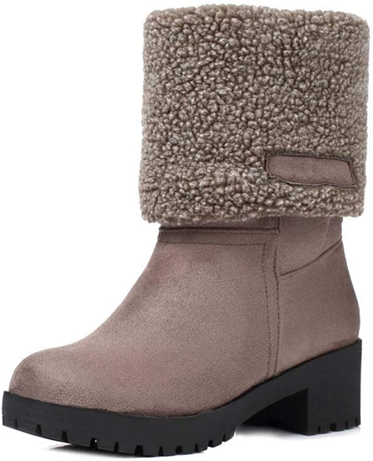 NOMIMAS Women's Mid Calf Boots Simple Square Heel shoes Fashion Style Winter Slip On Footwear