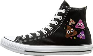 Sakanpo Keep Clam And Love On Canvas Shoes High Top Sport Black Sneakers Unisex Style