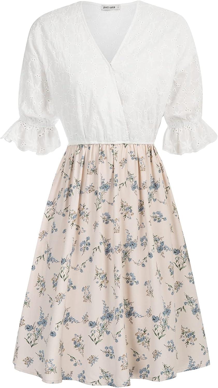 GRACE KARIN Women's Ruffled Short Sleeve V Neck Floral Dress Summer Casual Patchwork Flowy Mini Dress