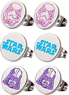 Stainless Steel Star Wars Logo, Darth Vader and Stormtrooper Tween Stud Earring