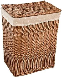 SUNAYV Panier À Linge Rotin Lessive Sale Maison Panier De Rangement Grande Boîte De Rangement en Maille en Osier Panier À ...