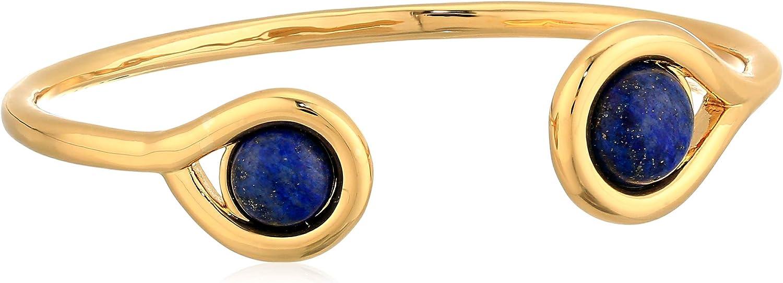 Ben-Amun Jewelry Women's Mod Gold-Tone Black Stone Cuff Bracelet, One Size