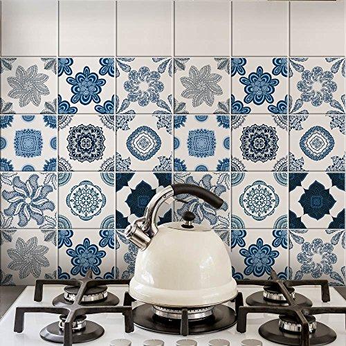 wall art PS00062 Adesivi in PVC per Piastrelle per Bagno e Cucina Stickers Design - Blu Cobalto