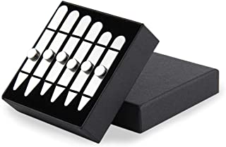 """6 Metal Collar Stays with 6 Magnets, Aolvo Magnetic Collar Stays for Dress Shirt Stainless Steel Reusable Collar Stiffeners for Men, 3 Sizes in Gift Box(2.2""""/2.5""""/2.75"""")"""