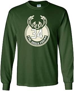 Long Sleeve Green Milwaukee Giannis Greek Logo T-Shirt