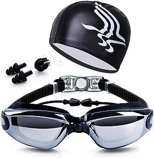 Beauenty for 5 in 1 Swimming Goggles glasses Swim Cap Nose Clip Ear Plugs Case Black item_name
