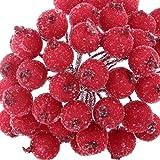 200pcs Mini Weihnachten Dekoration Künstliche Frucht Beere Holly Blumen - Rot - 4