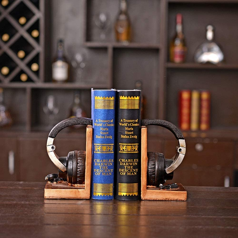 JF-XUAN Bookends Outstanding Nostalgic Retro Style Bo Modeling Sale special price Resin Headset