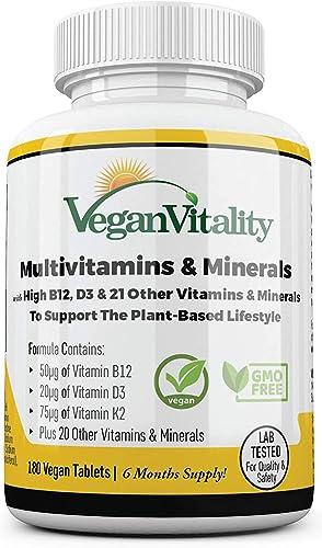 Multivitamines et minéraux végétaliens à haute teneur en vitamine B12, D3 et K2. 180 comprimés de multivitamines - 6 ...