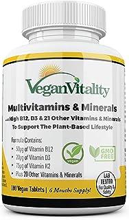 Multivitamine vegetali e minerali ad alto contenuto di vitamine B12, D3 e K2. 180 compresse multivitaminiche - 6 mesi di f...