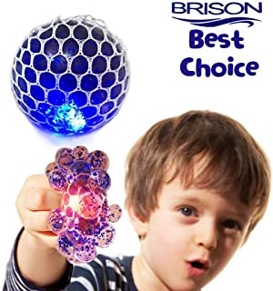 Upgraded Led Anti-Stress Ball - Squishy Light up Ball-Anti Stress Toys - Toys for Kids - Mesh Stress Ball - Grape Ball - DNA Ball-Slime Stress Ball - ADHD Fidget Toys-Net Stress Squishy Ball.