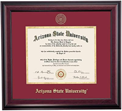 Ocm Diplomadisplay Traditional Frame For Arizona State Asu Sun Devils 8 1 2 X 11 Diploma Certificates Maroon Gold Mat Home Office Graduation Gift