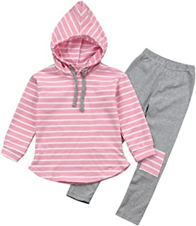 Baby Outfits Clothes Set, MIITY Baby Boys Girls Toddler Kids Stripe Cotton Pullover Hoodie Tops Patch Pants