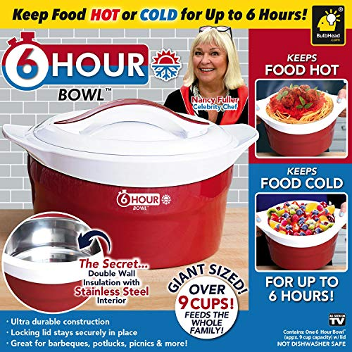 6 Hour Bowl As Seen On TV with Celebrity Chef Nancy Fuller–Stainless Steel Thermal Insulated Bowl Interior Keeps Food Hot or Cold for 6 Hours–Over 2.25 Qrt. Capacity Feeds–Locking Lid Stays in Place