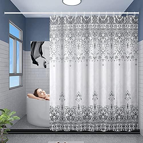 Duschvorhang 180 x 180 cm, Duschvorhang Grau, Wasserabweisend Anti-Schimmel mit 12 Duschvorhangringen ,Textil, Waschbar Vintage Boho Style Shower Curtains
